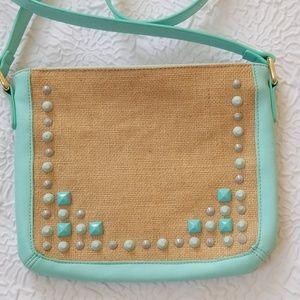 Shiraleah Chicago Crossbody Linen green trim bag
